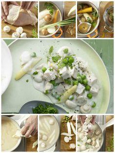 Zwiebeln und Suppengrün zusammen mit Lorbeerblatt und Pfefferkörnern zum Hähnchen geben und bei mittlerer Hitze 35 Minuten kochen: Hühnerfrikassee – smarter mit Spargel und Champignons | http://eatsmarter.de/rezepte/huehnerfrikassee-smarter
