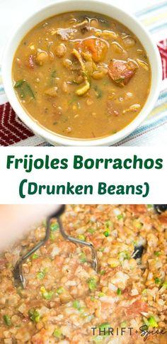 Beans (Frijoles Borrachos) Frijoles Borrachos or drunken beans are a delicious simple mexican meal made with beer!Frijoles Borrachos or drunken beans are a delicious simple mexican meal made with beer! Spicy Recipes, Mexican Food Recipes, Soup Recipes, Dinner Recipes, Ethnic Recipes, Mexican Cooking, Copycat Recipes, Delicious Recipes, Crockpot Recipes