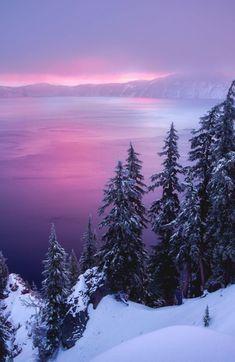 Beautiful soft mauve sunset over the frozen lake!