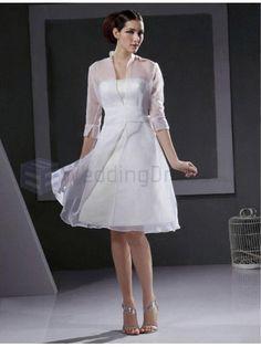 A-line 3 4-length Sleeve Satin organza Knee-length Wedding Dress