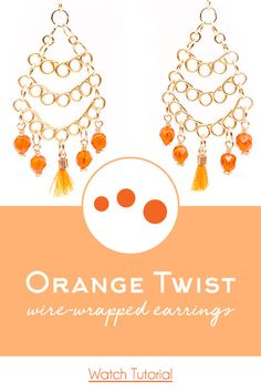 How-To Jewelry Tutorial: Orange Twist Wire-Wrapped Earrings Jewelry Dish, Beaded Jewelry, Jewelry Making, Wire Wrapped Earrings, Diy Earrings, Statement Earrings, Women Accessories, Jewelry Accessories, Wire Wrapping Tutorial