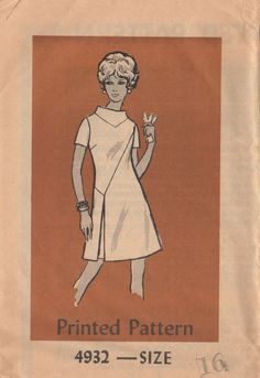 Mail Order 4932 1960s Misses Dress Pattern Interesting Seams Womens Vintage Sewing Pattern Size 16 Bust 36 Uncut. $10.00, via Etsy.