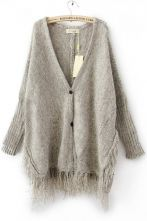 Light Grey Batwing Long Sleeve V-neck Tassel Hem Cardigan