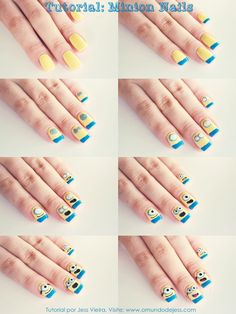 Tutorial Minion Nails #nailart #tutorial #diy