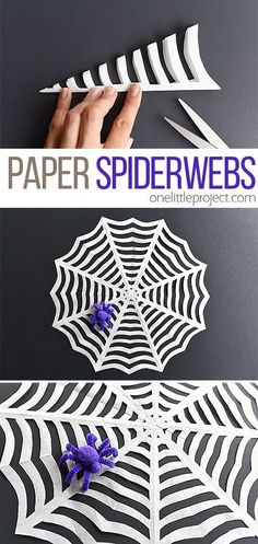These paper spider webs are SO EASY to make and they look amazing! This is such an awesome homemade Halloween decoration! And it's such a great Halloween craft to make with the kids. I love the pipe cleaner spider! kids crafts How to Make Paper Spiderwebs Theme Halloween, Homemade Halloween Decorations, Fun Halloween Crafts, Holiday Crafts, Women Halloween, Halloween Couples, Halloween Nails, Halloween Recipe, Halloween Makeup
