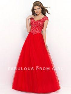 Ball Gown V-neck Lace Short Floor-length Tulle Prom Dresses / Evening Dresses - FabulousPromGirl.com