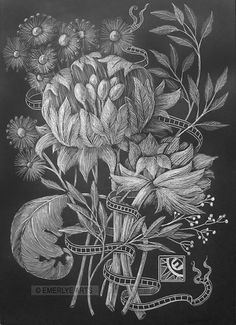 """Cup Flowers,"" a 7x5 inch black clayboard engraving by Cynthia Emerlye"