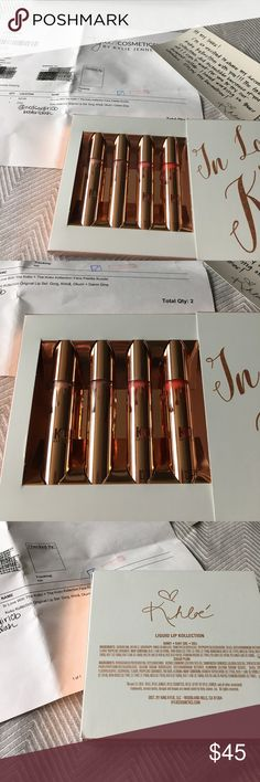 Brand New Kylie x Khloe In Love with the Koko Set Brand New Liquid Lipstick and Gloss Set. Gorgeous colors, I love mine!  I ordered this second one by mistake, so out it goes! These have never been opened nor swatched and were purchased directly from the Kylie Cosmetics website, see pics of packing slip. Do not come with Khloe postcard or black shipping box unless bundled with other Kylie items in my closet. 🚫Trades, so please don't ask. 🚫Deals outside of Posh.  All items come from smoke…