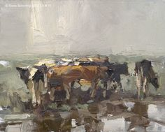 Landscape autumn #11 Grateful - Young cows, 24x30 cm, RoosSchuring.com
