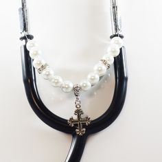 Women's Beaded Stethoscope Charm - Cross and White Pearls with Silver Accents by DungleBees on Etsy
