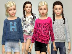 Printed Sweatshirt for Girls - The Sims 4 Catalog Sims 4 Teen, Sims 4 Toddler, Sims Cc, Toddler Dress, Toddler Outfits, Kids Outfits, Sims 4 Children, Sims 4 Clothing, Clothing Sets