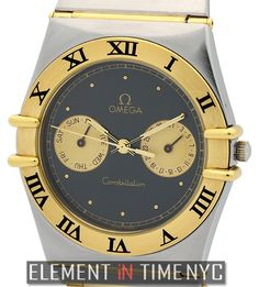 #Omega Constellation Day-Date 33mm iN Stainless Steel / 18k Yellow Gold With A Black Dial
