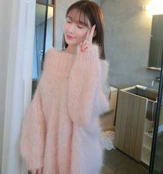 High Quality Women New Fashion Slash Neck Thick Warm Furry Long Sweater Loose Casual Ladies Knitwear Pullover Free Shipping
