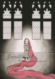 Rapunzel  Lámina Impresa  Tinta y Acuarela por JarilloArtCraft