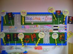 Stop, Look and Listen Road Safety classroom display photo - Photo gallery - SparkleBox Eyfs Activities, Nursery Activities, Classroom Activities, School Displays, Classroom Displays, Road Safety Poster, Safety Week, Safety Rules, Fire Safety
