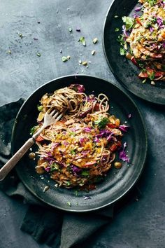 Spicy Peanut Soba Noodle Salad: red peppers, cabbage, chicken, soba noodles, and a quick homemade spicy peanut sauce. salads don't get much yummier than this, (gluten-free) | pinchofyum.com