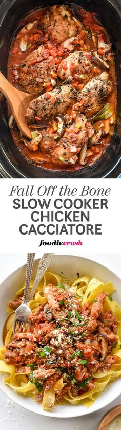 Slow-cooked bone-in, skinless chicken thighs create the luxe flavor in this savo. 👈💪🙏 Slow-cooked bone-in, skinless chicken thighs create the luxe flavor in this savory Slow Cooker Chicken Cacciatore dinner that pairs perfectly with pas. Crock Pot Slow Cooker, Crock Pot Cooking, Slow Cooker Chicken, Slow Cooker Recipes, Crockpot Recipes, Cooking Recipes, Healthy Recipes, Crock Pots, Salad Recipes