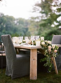 LOVE THOSE CHAIR COVERS! Elegant Green, White, and Mauve Wedding Ideas