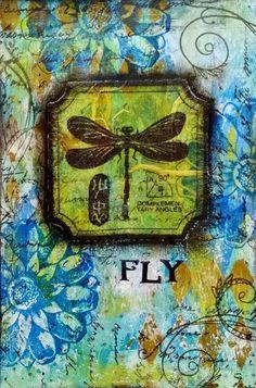 iHanna Postcard exchange - mixed media - dragonfly