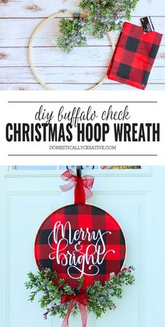 Diy christmas wreaths 270145677634127308 - Brighten up your front door for the holidays with this easy to make DIY Christmas Buffalo Check Hoop Wreath that features a glittery Merry and Bright hand lettered focus! Rustic Christmas, Christmas Holidays, Christmas Ornaments, Christmas Ideas, Christmas Music, Christmas Plaid Decorations, Christmas Movies, Diy Christmas Projects, Diy Christmas Home Decor