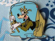 Disney Cast Lanyard Trading Pin - Goofy Gone Fishin' Fishing Rod Sports - 25476
