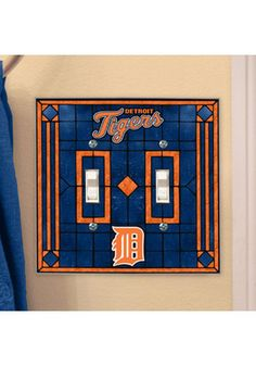 Detroit Tigers Art-Glass Double Light Switch Cover