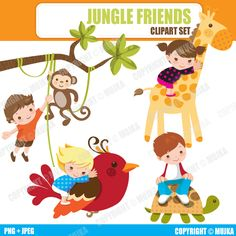 Inspirational 8 graphics of Jungle animals and kids ( Bonus African American Kids included)  Cliparts included in this set: