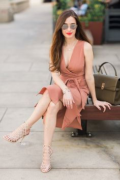 blush colored wrap dress. feminine outfit inspiration