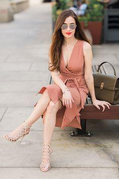 blush colored wrap dress. feminine outfit inspiration