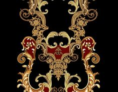 Embroded necklines on Behance Baroque Pattern, Baroque Design, Print Design, My Design, Egypt Jewelry, Flower Art Images, Neckline Designs, Border Design, Panel