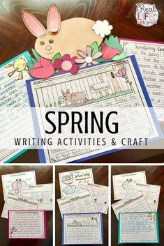 Fun spring writing activities and bunny craft for kindergarten, first, or second grade. Includes pretty paper, brainstorming webs, graphic organizers, and rubrics for narrative, informative, and opinion writing! Writing pieces with the craft are a wonderful idea for a spring bulletin board! I really love the story planner!