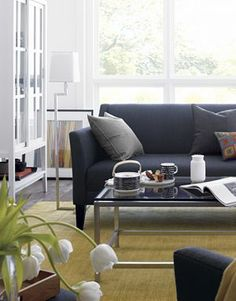 Margot Sofa - Crate  White glass cabinet would suit