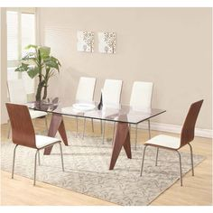 Mission Large Clear Glass Dining Table + 6 Oreo Chairs