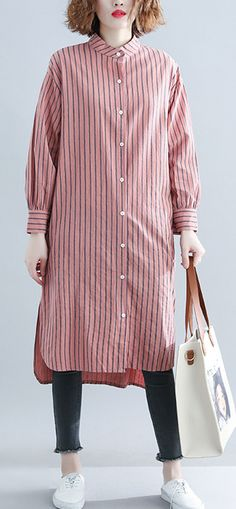 91a74e3e31c1 French red striped cotton Wardrobes top quality Sleeve Plus Size Clothing  autumn shirt Dress Linen Dresses