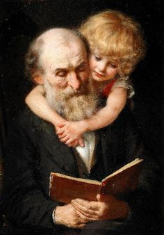 """Story Time (Portrait Of The Artist`s Father And Daughter)"" 19th century by Ekvall Knut by Plum leaves, via Flickr"