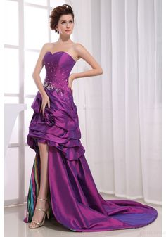 High Low Prom Dresses-A-line Strapless Sweetheart-neck Short Front Long Back Purple Taffeta Prom Dresses