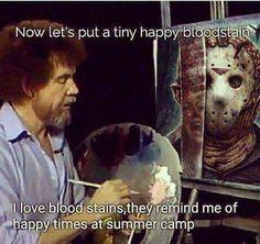 Omg too freaking funny #summercamp #bobross #fridaythe13th
