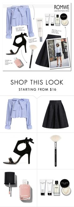 """""""Romwe love"""" by pankh ❤ liked on Polyvore featuring ZOEVA, Chanel, Bobbi Brown Cosmetics, Lancôme and Diesel Black Gold"""