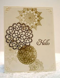 Stampin' Up Delicate Doilies gold embossed just lovely & a great way to use all my doily designs...mjr