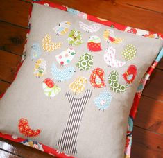 A super easy custom made pillow. Leave birds (and tree trunk) with raw edges to make quicker.