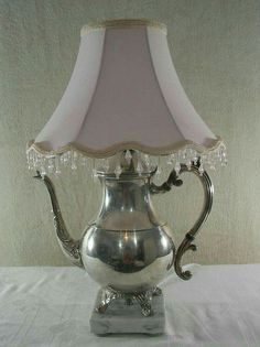 Vintage Silver Plated Teapot Lamp Repurposed Upcycled Pretty teapot lamp is perfect for a girls room, a tea room or a cottage. Silver Teapot, Silver Plate, Silver Trays, Teapot Lamp, Regal Design, I Love Lamp, Vintage Lamps, Vintage Teapots, Lamp Shades