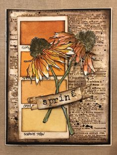 Tim Holtz inks and stamps Tim Holtz Flower Garden Cards, Flower Cards, Butterfly Birthday Cards, Old Book Crafts, Tim Holtz Dies, Scrapbooking, Artist Trading Cards, Fall Cards, Pretty Cards