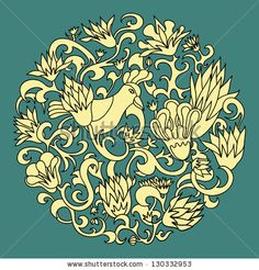 classic floral bird vintage round vector ornament pattern globe for textile interior decoration by ziarel, via Shutterstock