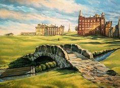 St. Andrews Golf Course-The Old Course! (limited edition giclèe print on paper, or canvas) by PersonalizedWineArt on Etsy