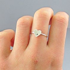 Heart Initial Sterling Silver Ring by InitialRings on Etsy, $23.99