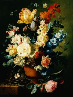 Why I like: dutch still life florals Love flower paintings in general Love amount of detail Love the almost hidden bugs scattered throughout This group of Flemish painters painted very lush, over blown flowers, roses, tulips, daffodils Very trompe l'oeil