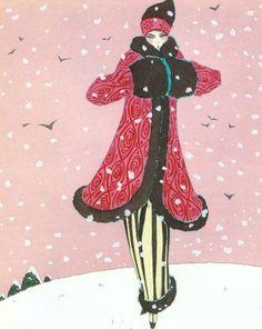 Winter Coat by Paul Poiret. Artist Georges Lepape, 1920