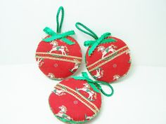 Fabric Christmas Ornaments Red Rocking Horse by WitsEndDesign
