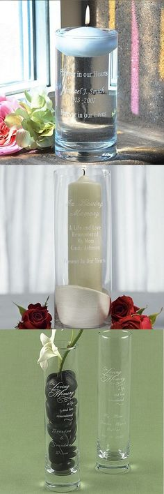 Feb 2019 - Missing Loved Ones on Wedding Day - Personalized memory cylinders and vases to remember loved ones throughout your wedding day. Winter Wedding Inspiration, Cute Wedding Ideas, Diy Wedding, Rustic Wedding, Candle Wedding Centerpieces, Ceremony Decorations, Light Decorations, Funeral Planning, Wedding Planning
