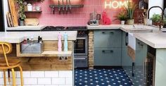 Say It De-light: Outstanding Kitchen Areas Wonderful Neon Signs Kitchen Design, Kitchen Decor, Round Kitchen, Glow, Shelving, Countertops, Kitchen Cabinets, House Design, Interior Design
